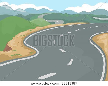 Illustration of a Long Stretch of Highway Beside Clusters of Hills
