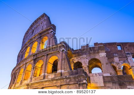 Twilight Of Colosseum The Landmark Of Rome, Italy
