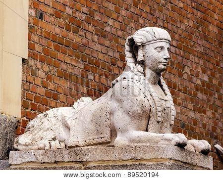 Egyptian Sphinx Stone Statue Retro Park Madrid Spain