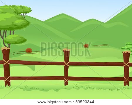 Illustration of a Vast Farmland Protected by a Wooden Fence