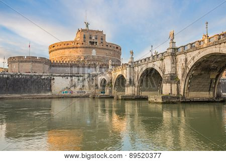 Sant Angelo Castle Over Tiber River In Rome, Italy