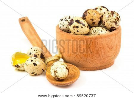 Quail Eggs In A Wooden Bowl And Spoon