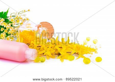 Spa Product With Spring Flowers