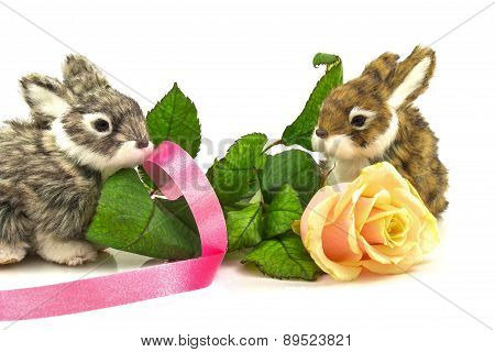 Rabbits With Rose And Ribbon