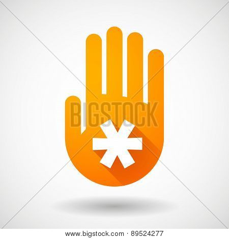 Orange Hand Icon With An Asterisk