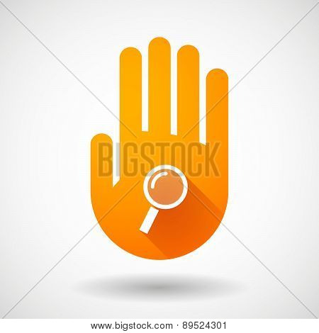 Orange Hand Icon With A Magnifier