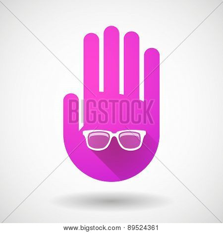 Pink Hand Icon With A Glasses