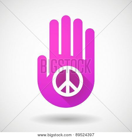 Pink Hand Icon With A Peace Sign