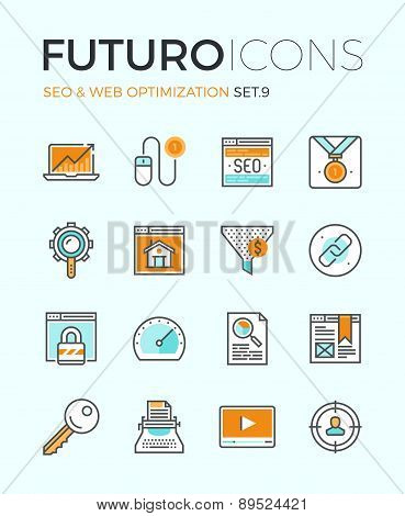Seo And Web Optimization Futuro Line Icons