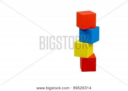 Tower Of Color Wooden Cubes Isolated.