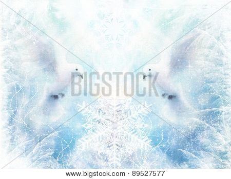 Dove In Ornamental Winter Snowflakes, White Radiant Holy Flying Peace Symbol, Colorful Painting And