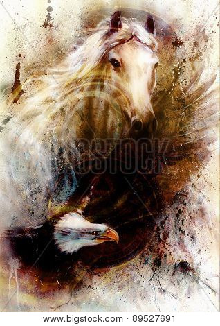White Horse With A Flying Eagle Beautiful Painting Illustration With  Structure Van Dolar