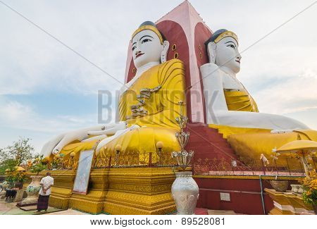 BAGO DIVISION, MYANMAR - MARCH 27, 2015: Kyaikpun Pagoda, The Four Seated Buddha Statue