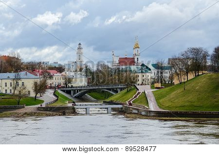 View Of Town Hall And Voskresenskaya Church From Estuary Vitba