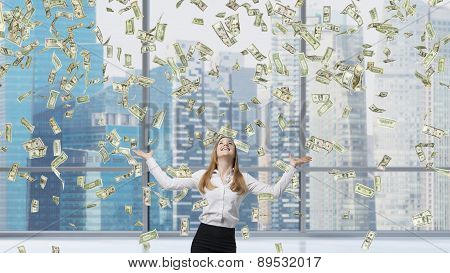 Beautiful Blonde Business Woman Is Happy About Falling Dollar Notes In The Office. Singapore City Ba