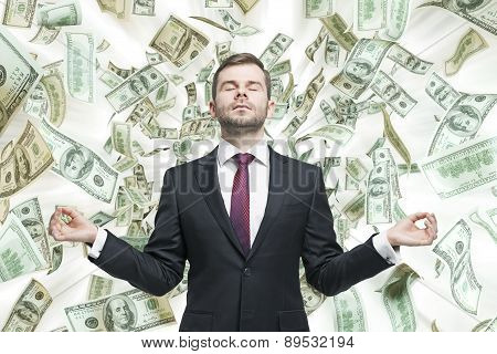 Meditative Young Businessman. Dollars Notes Are Falling Down From The Ceiling. A Concept Of Career S