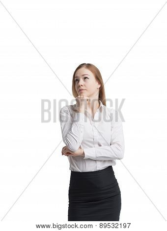 Standing Beautiful Blonde Business Woman. Isolated On White Background.