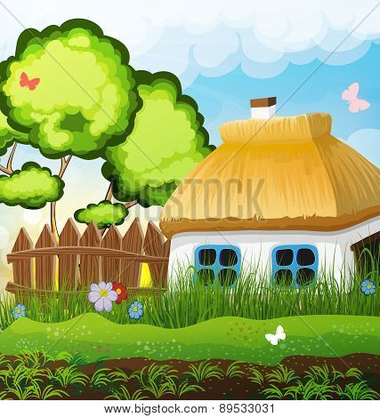 Rural Landscape With A Small House
