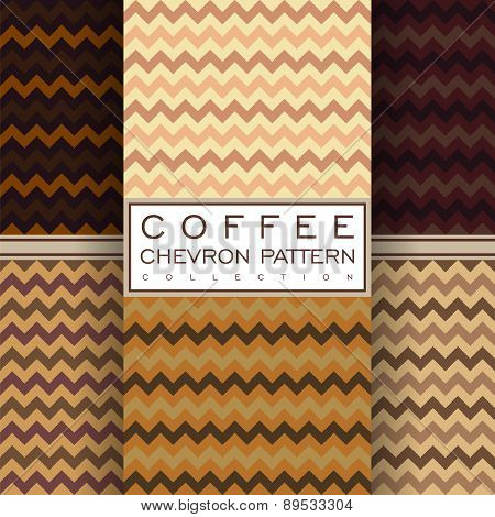 Coffee Chevron Seamless Pattern Collection