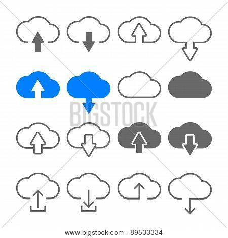 Download Upload Cloud Icons Set
