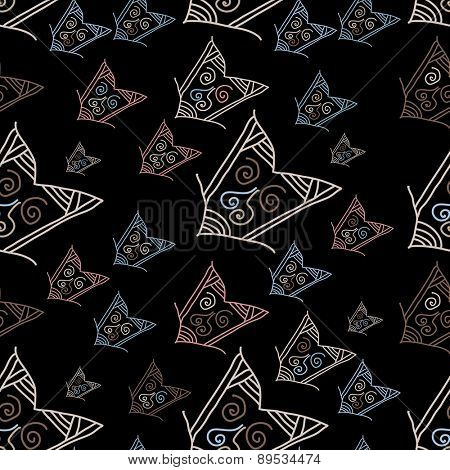 Seamless pattern with hand-drawn arrows on black background. Vector illustration