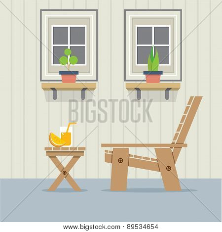 Closed Windows With Wooden Chair And A Glass Of Orange Juice On Table.