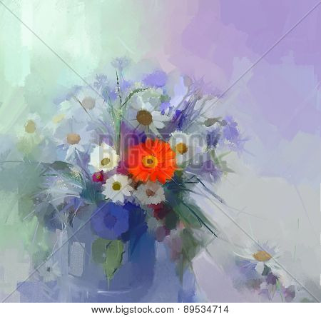 Flower Oil Painting.flora Vintage Color Background