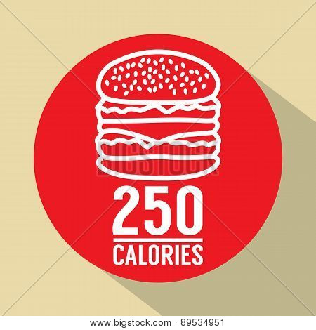 Single Hamburger 250 Calories Symbol.