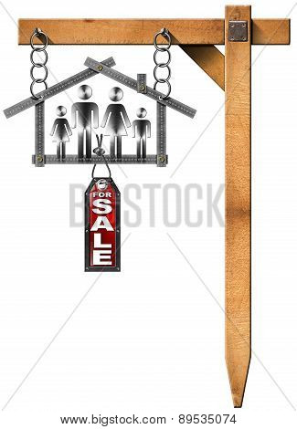 House For Sale Sign - Metal Meter With Family