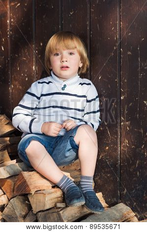 Cute little blond boy sitting on cut wood and leaning on an old wooden wall