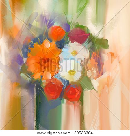 Oil Painting Daisy And Rose Flowers In Vase