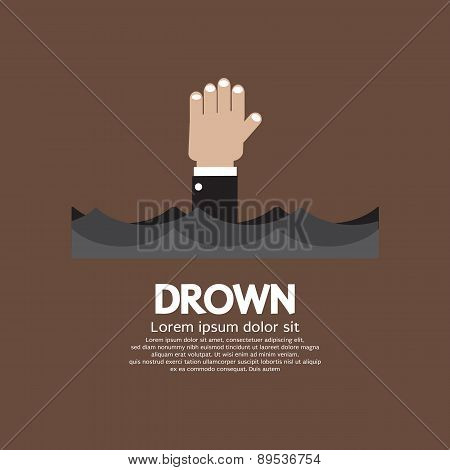 Drowning Man Showing His Hand Over The Water.