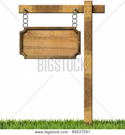 Wood And Metal Sign With Chain And Pole
