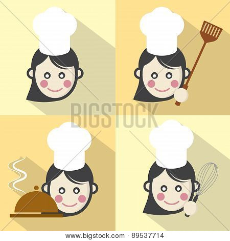 Flat Design Chef Icon With Long Shadow Effect.