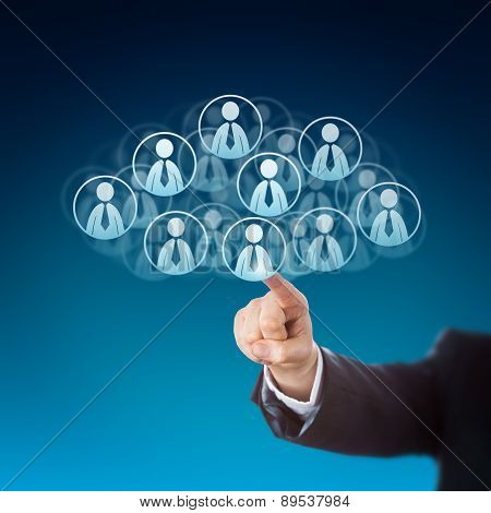Finger Clicking On Human Resources In The Cloud