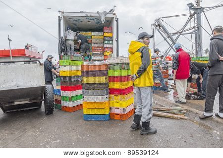 AS-SAWIRA, MOROCCO, APRIL 7, 2015: Local men load fresh fish into a lorry