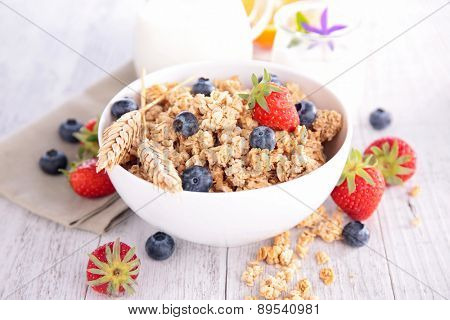 granola with berry and milk