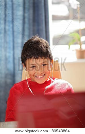 Smiling boy doing looking at computer