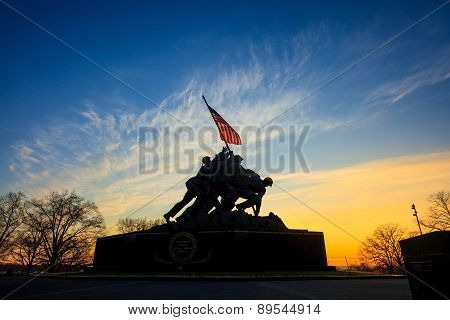 Iwo Jima Memorial Washington Dc Usa At Sunrise
