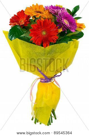 Bouquet Of Flowers In Yellow Package