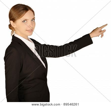 Business woman shows forefinger ahead of yourself. white background