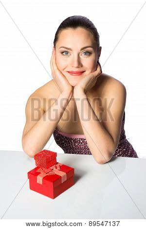 Beautiful Girl With Red Gifts
