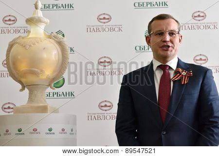 PAVLOVSK, ST. PETERSBURG, RUSSIA - APRIL 29, 2015: President of North-West bank of Sberbank Dmitry Kurdyukov during the ceremony of the return of marble vase to the State Museum-Reserve Pavlovsk