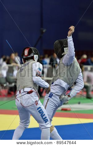 ST. PETERSBURG, RUSSIA - MAY 1, 2015: Andrea Baldini of Italy vs Sergey Byk of Belarus during 41th International fencing tournament St. Petersburg Foil. The tournament is the stage of FIE World Cup