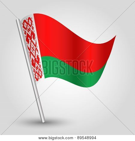 Vector Waving Simple Triangle Byelorussian  Flag On Pole - National Symbol Of Belarus
