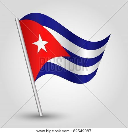 Vector Waving Simple Triangle Cuban Flag On Pole - National Symbol Of Cuba