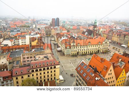 WROCLAW, POLAND - CIRCA NOV, 2014: Top view of Wroclaw Old Town from top of Tower Saint Elizabeth Church. Wroclaw is going to be European Capital of Culture in 2016.
