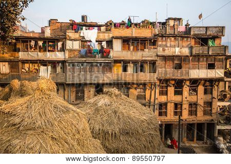 BHAKTAPUR, NEPAL - CIRCA DEC, 2013: Houses in the Central district of Bhaktapur. More 100 cultural groups have created an image of Bhaktapur as Capital of Nepal Arts.