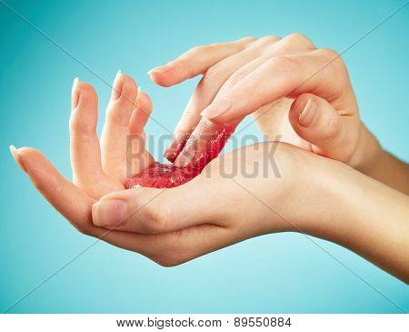 Woman's Hands In Body Scrub