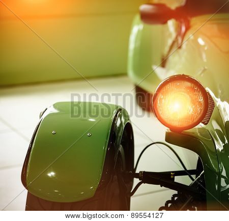Green Retro Car Headlight